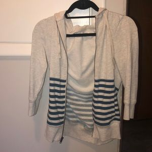 Caslon Blue and Grey Striped Zippered Hoodie